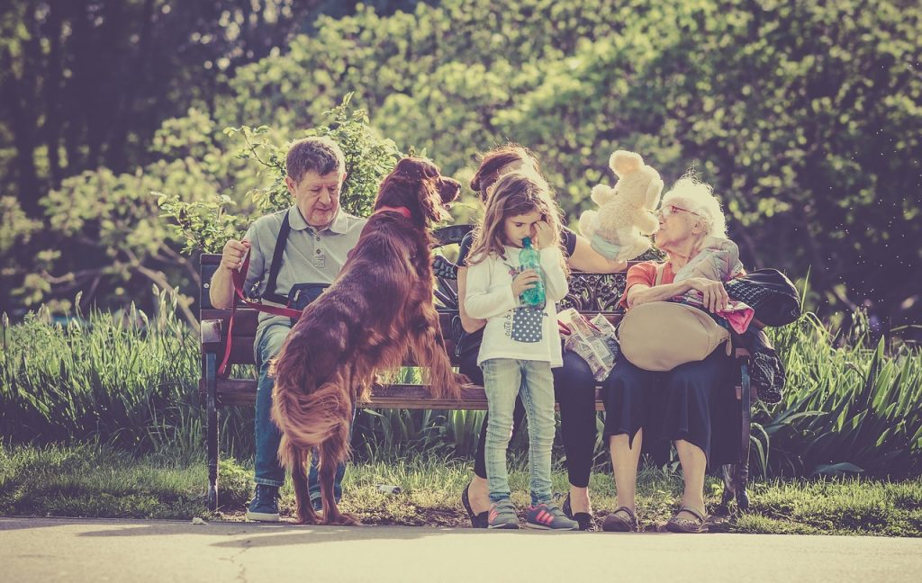 bunici si nepoti la plimbare cu cainele