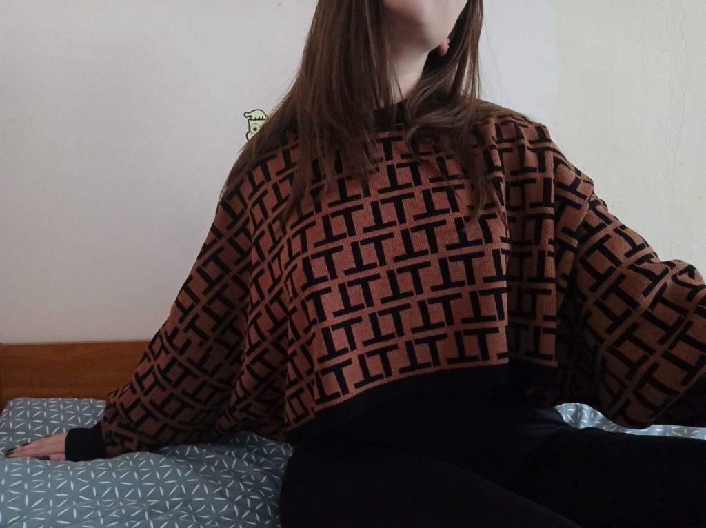 Brown Black Patterned Long Sleeve Crop Jumper