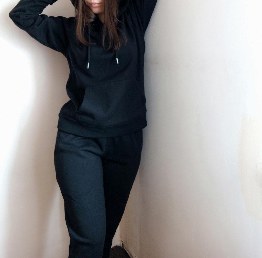 Black Oversized Fleece Front Pocket Drawstring Hoodie Cuffed Joggers Loungewear Set